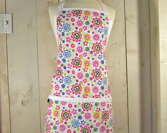 Peace Daisy Women's Apron - Reversible Apron, Full Apron, Apron with Pockets by Lucky Ducky Designs