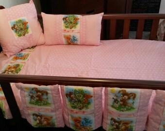 cot nursery bedding set baby pink