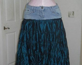 Fée Celtique fairy jean skirt teal emerald silk tulle ruffled shimmery medieval Celtic bohemian blue green