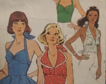 UNCUT and FF Pattern Pieces Vintage Simplicity Sewing 6357 Pattern Halter Tops Size 14 Bust 36
