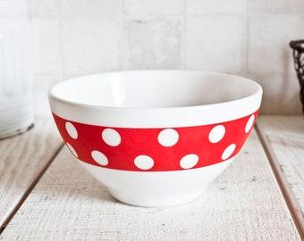 "Opal White Red Polka Dots Glass ""Café au Lait"" Bowl || Kitchen Retro Decor - Arcopal French vintage 1970s"