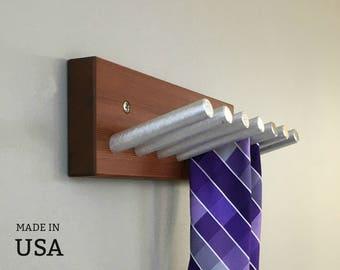 Tie Rack, Modern Metal and Rustic Wood