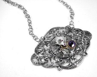 Steampunk Jewelry Necklace Jewel Watch Silver LILAC Swarovski Wedding Anniversary Bridal Girlfriend Fiancee GORGEOUS - Jewelry by edmdesigns