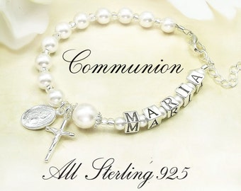 Girl Communion Rosary Bracelet with 925 stamped Sterling Silver Letters and Sterling Miraculous Medal & Sterling Crucifix