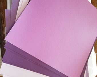 Set of 10 papers - shades of purple paper- great for scrapbooking, mixed media, cards, etc.