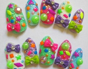 """3D deco nails - """"Confetti"""""""