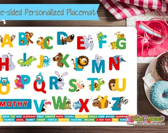 Personalized Animal Alphabet Placemat - Personalized placemat for kids - Laminated Custom Double-sided placemat - Activity Placemat for Kids