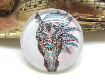 2 cabochons 20 mm glass horse Tribal 2-20 mm