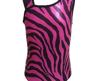 Wild Pink Zebra Girls gymnastics leotards