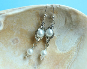 Pretty & Chic Herring Bone Wirewrap Earring -Elegant Handmade Ear Dangles, Gift For Her, Bridal