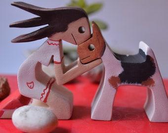 Una chica y su fox terrier- figurina