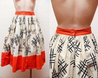 1950s cotton colourblock hashtag novelty print full circle skirt