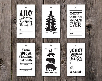 Printable Gift Tag, Printable Holiday Gift Tags, Printable Christmas Tags, Printable Christmas Gift Tags, Black and White Digital Labels