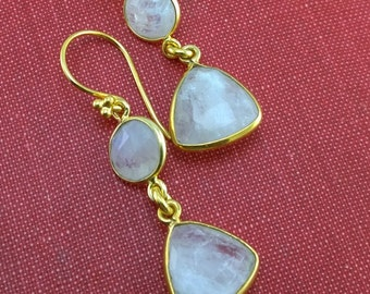 Mad About Moonstone XX: Moonstone Earrings Handcrafted in Golden Vermeil