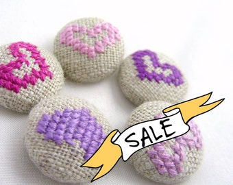 SALE - Purple Hearts - Hand Embroidered Buttons