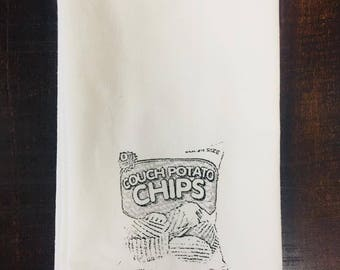 Couch Potato Chips tea towel