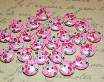 Adorable pink cat buttons crafting supplies scrapbooking scrap booking crafts sewing supplies scrapbooks scrap books kids craft projects