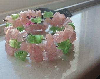 Rose Quartz and Green Cats Eye Chip Wrap Bracelet