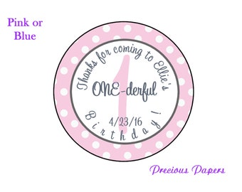 """2"""" round Personalized PRINTED pink and gray 1st birthday sticker first birthday stickers"""
