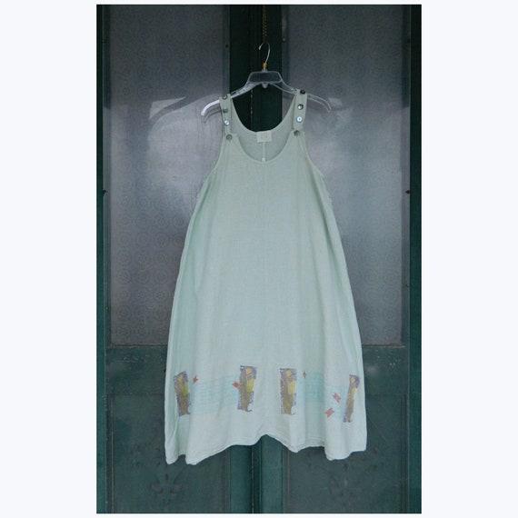 Blue Fish Artwear Jumper Dress -0- Pale Seaglass Green Hemp Cotton AS IS