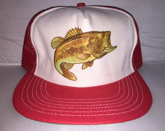 Vintage Large Mouth Bass Trucker hat cap 80s MADE IN USA fishing deadstock 80s rare outdoors