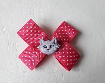 ♥ Hair bow pink polka dot and grey ♥ Cat Head