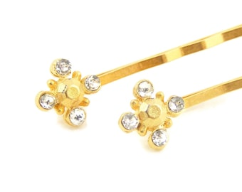 Vintage Gold & Crystal Hairpins, Renaissance Style, Wedding Accessories, Set of Two Bridal Hair Grips Pins