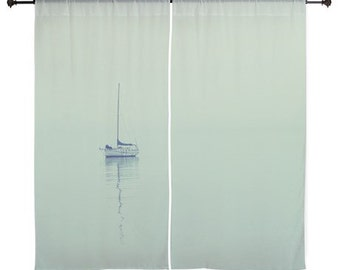 Sheer Curtains - Home Decor, Eternal, Sailboat, Ocean, Sea, nature photography by RDelean Designs