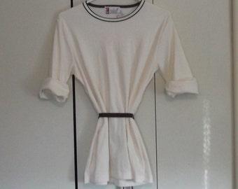 vintage 1960s 1970 Japanese blouse white brown belt