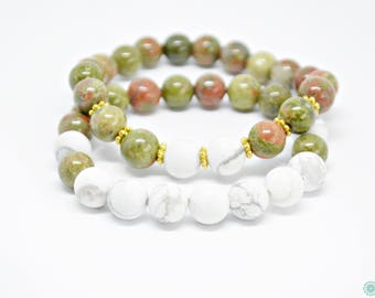 Howlite and Unakite bracelet set