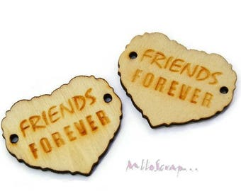 Set of 2 friends forever scrapbooking embellishment wooden hearts *.