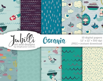 Mermaid Digital Paper, 12x12 digital paper, Ocean digital, Ship digi, Octopus digi, Bird digi, Sexy Captain, scrapbooking, papercraft