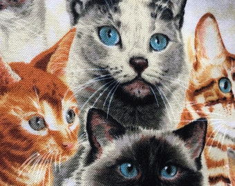 """Cats, kitties cotton fabric, realistic faces, 44"""" wide 4 yds available"""