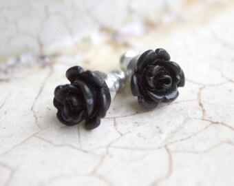 Earrings -- Tiny black roses