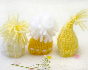 Yellow Miniature Knitted Hats- Hand Knit- 3 Mini Caps- Shades of Yellow- Dolls, Small Pet- Egg Cozies