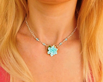 Succulent choker Bridesmaid gift|for|her Succulent jewelry Chain choker Bridesmaid necklace Blue jewelry Floral Womens jewelry gift