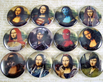 "1"" Inch Cosplay Mona Lisa Flatback Buttons, Pins, Magnets 12 Ct."