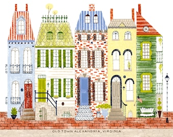 "Old Town Alexandria, Virginia, northern virginia print, alexandria, old town, colonial architecture, 8.5""x11"" and 11""x14"", art print"