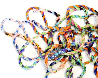 Colorful Twisted Twine, Tattered Fabric Rag Rope, Textile Fiber Gift Wrap Craft Cord Ribbon, Handmade Art Yarn, 5 yards itsyourcountry