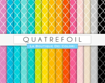 Scrapbooking Quatrefoil Digital Paper, all colors Rainbow Printable Instant Download for Personal and Commercial Use.