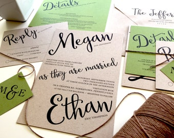 Angled Script Wedding Invitation Set, Twine Kraft Paper Rustic Invitation Cursive Invitations Green Brown Recycled Wedding Invitation