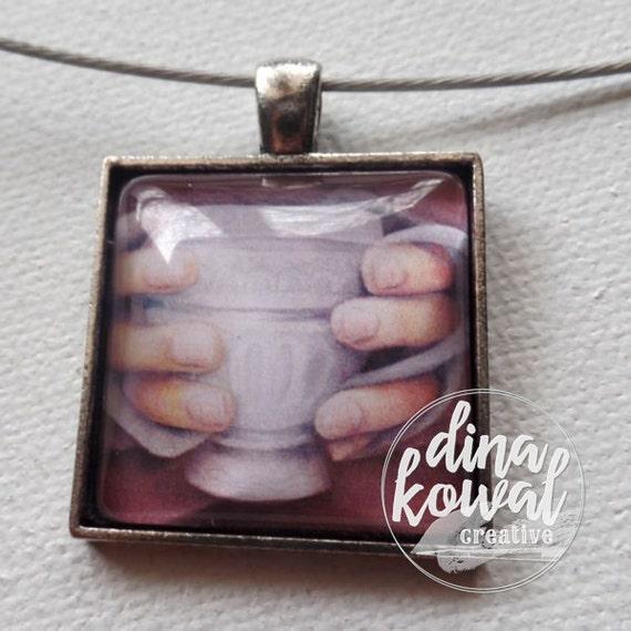 Morning Tea - teacup mug - domed glass tile pendant necklace
