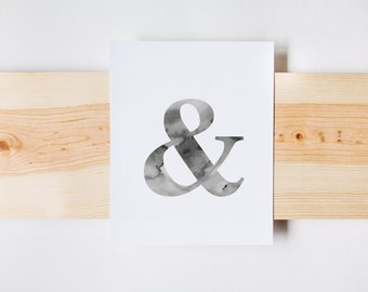 Ampersand Print, Watercolor Ampersand, Home Decor, Wall Art, INSTANT DOWNLOAD