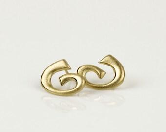 14k earrings, gold spiral earrings, solid gold earrings, big stud earrings, 14 karat gold earrings