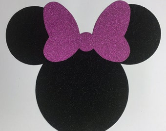 Disney Minnie Mouse Black Glitter Die Cut Sticker with Pink Glitter Bow - 10 Pieces - Scrapbook Art Craft Party Invitations Decorations
