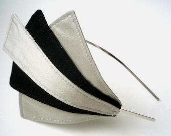 EMPIRE Art DecoSilk Dupioni Headband, Pale Silver and Black