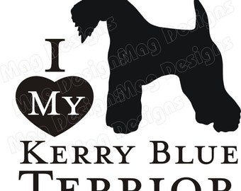 KERRY BLUE TERRIER Vinyl Dog Decal Silhouette in your colors