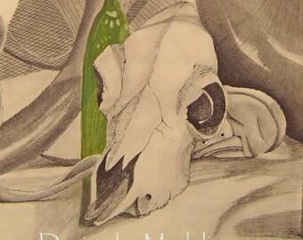 Tête de mort et d'élixir Art aimant \ / \ / \ / cote titre-maison sur la Deranged