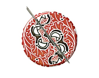 Art Nouveau floral 4 needle minder magnet cross stitching sewing tool sewing notion wife gift under 10 stocking stuffer red black