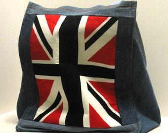 handmade,tote,denim, bag, union jack, three pockets